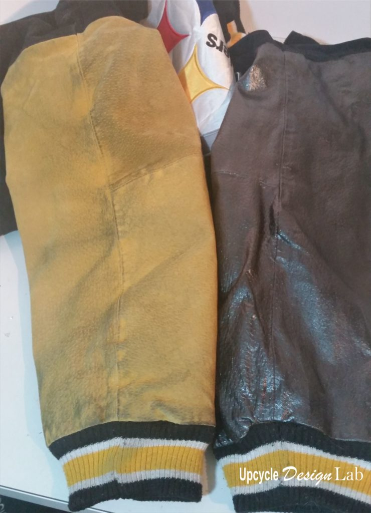 Before and after painted jacket sleeve