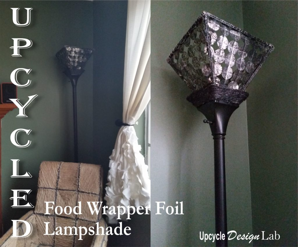 Lampshade made from upcycled materials