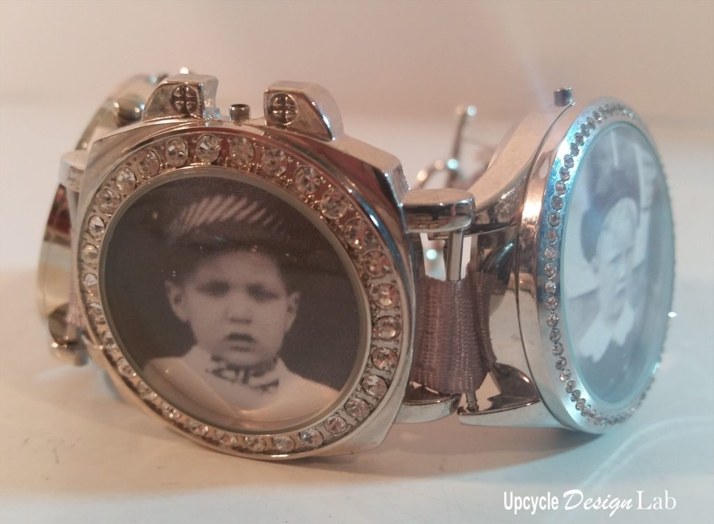 picture charm bracelet made from old watches