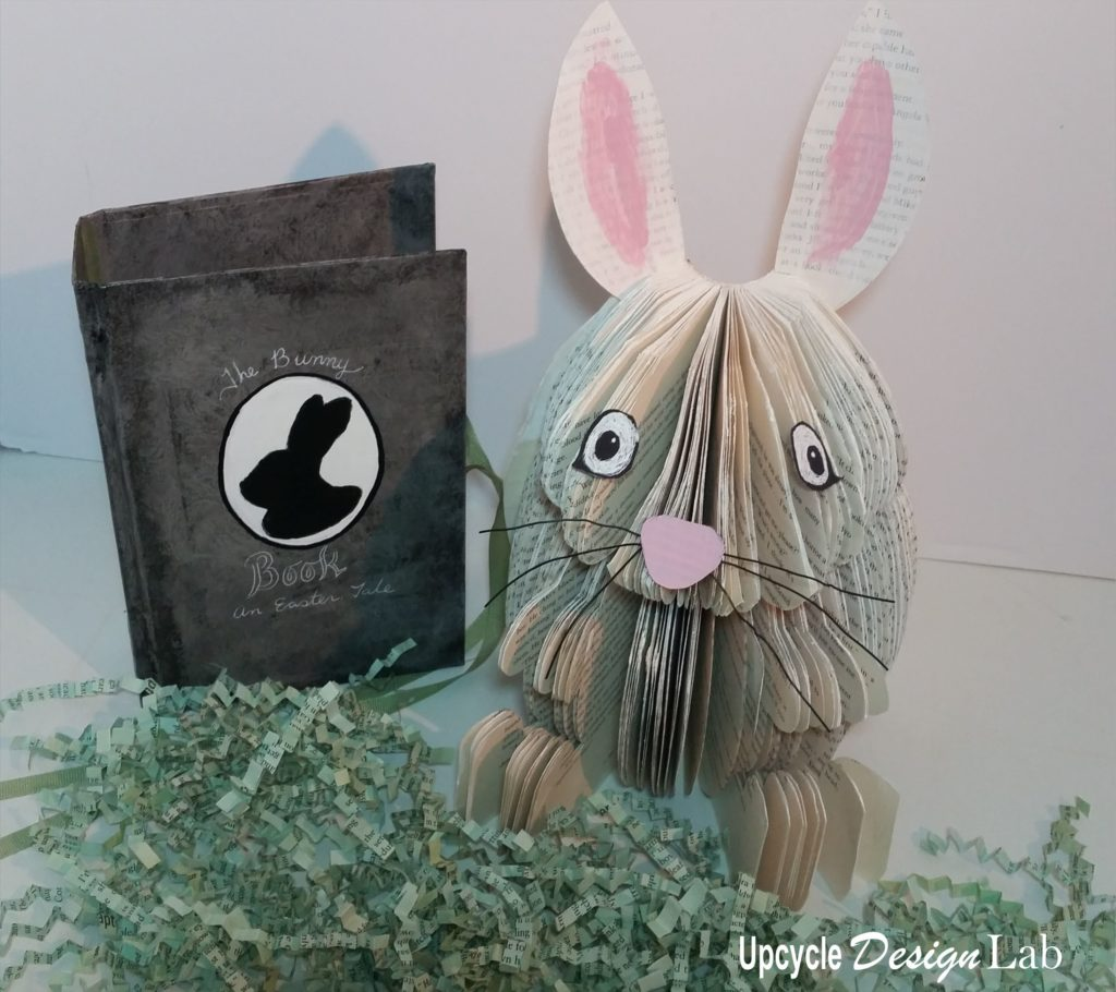 Easter bunny book decoration with book cover