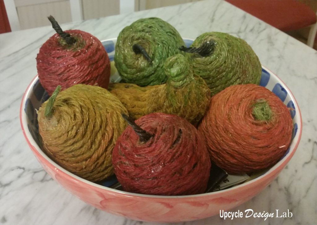 Twine wrapped fruit in a bowl