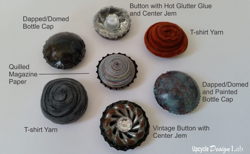 examples of decorated bottle cap magnets